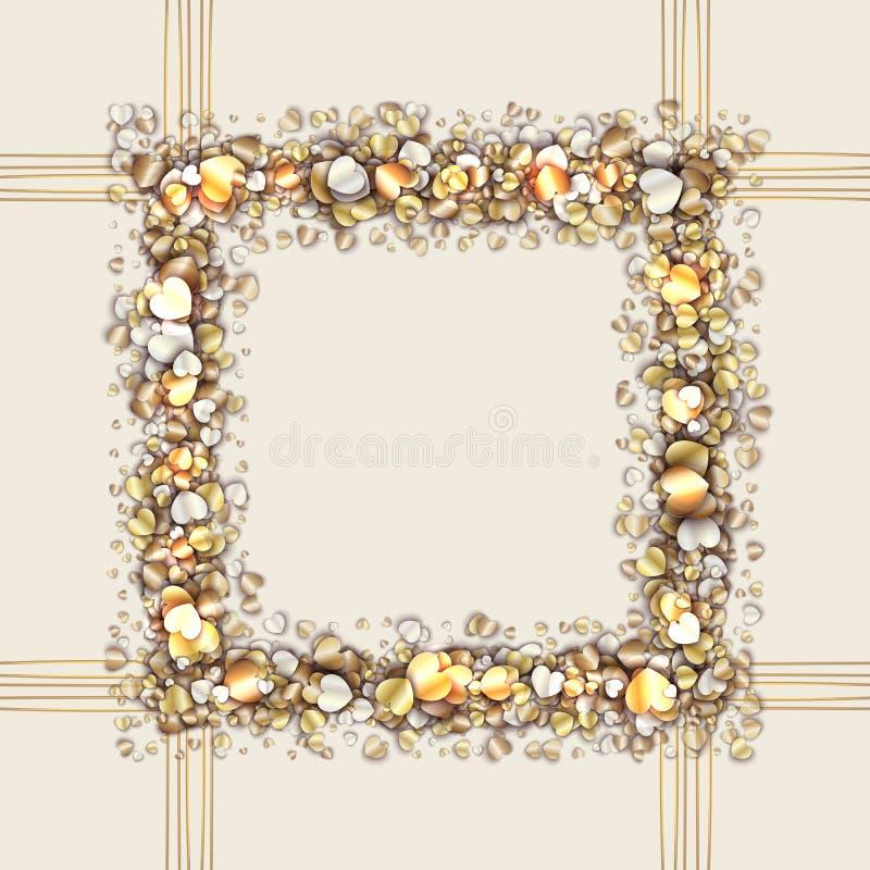 Cadre de vintage avec les coeurs d'or illustration de vecteur