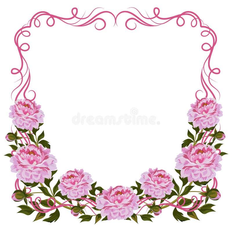 Cadre de vintage avec les pivoines roses illustration libre de droits