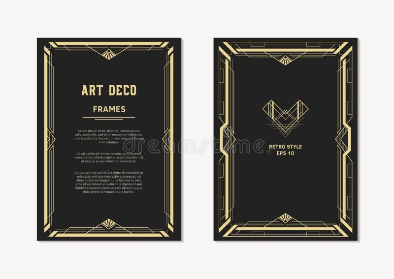 Cadre de vintage d'or d'Art Deco pour des invitations et des cartes illustration libre de droits