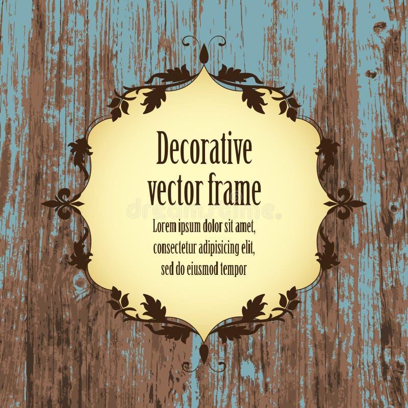 Cadre de vintage dans la couleur brune beige sur la vieille texture réaliste bleue en bois de planche illustration stock