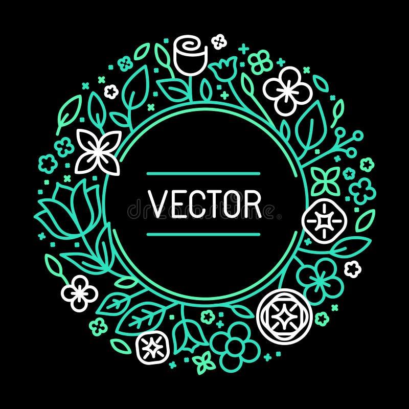 Cadre de vintage de vecteur dans le cadre linéaire à la mode illustration de vecteur