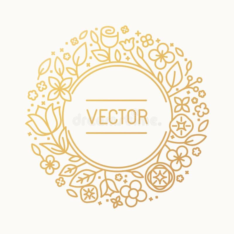 Cadre de vintage de vecteur dans le cadre linéaire à la mode illustration stock