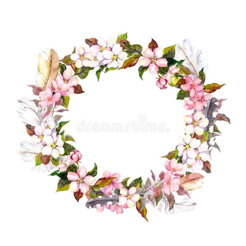 Cadre de vintage - guirlande dans le style de boho Les plumes et le ressort fleurit (cerise, fleur de fleur de pomme) watercolor illustration libre de droits