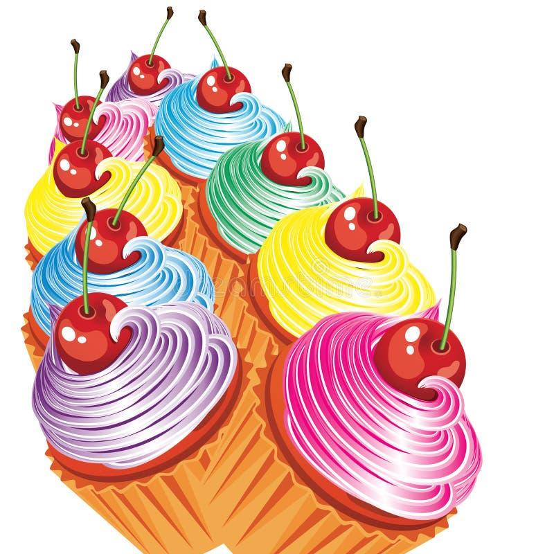 Cadre des gâteaux avec de la crème et des cerises. illustration libre de droits