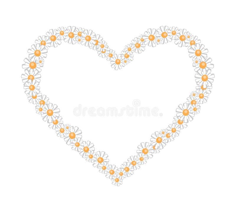 cadre des marguerites sous forme de coeur illustration libre de droits