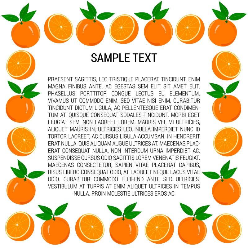 Cadre des oranges et des tranches oranges illustration stock