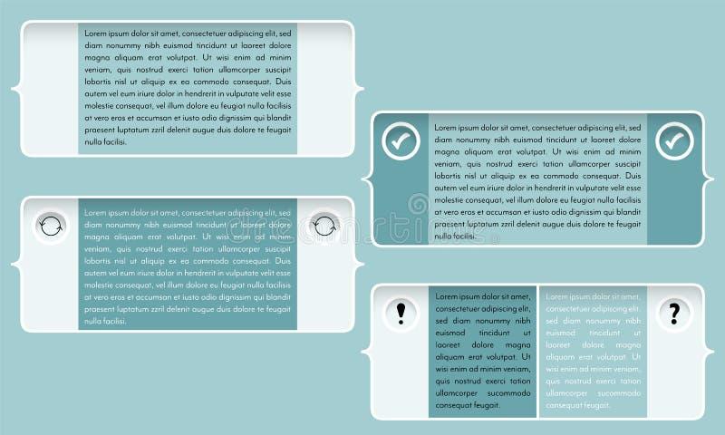 Cadre des textes quatre pour votre texte et parenthèses illustration stock