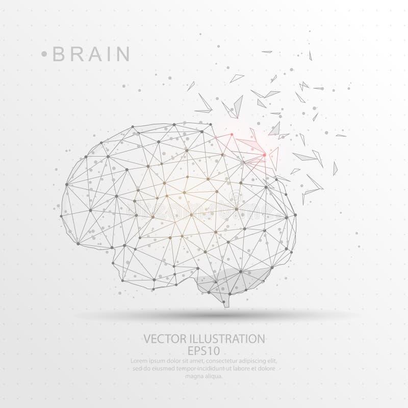Cadre digitalement dessiné de fil de forme de cerveau bas poly illustration de vecteur