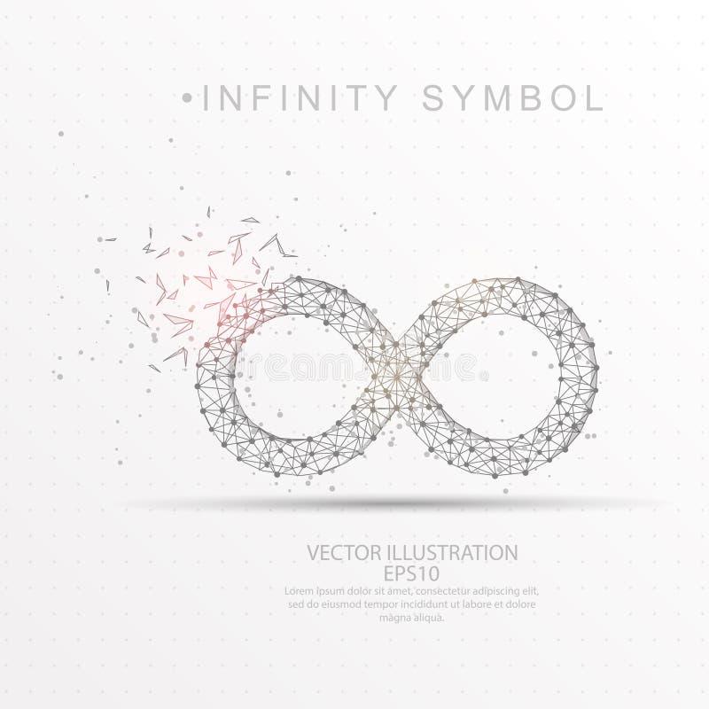 Cadre digitalement dessiné de fil de forme de symbole d'infini bas poly illustration stock