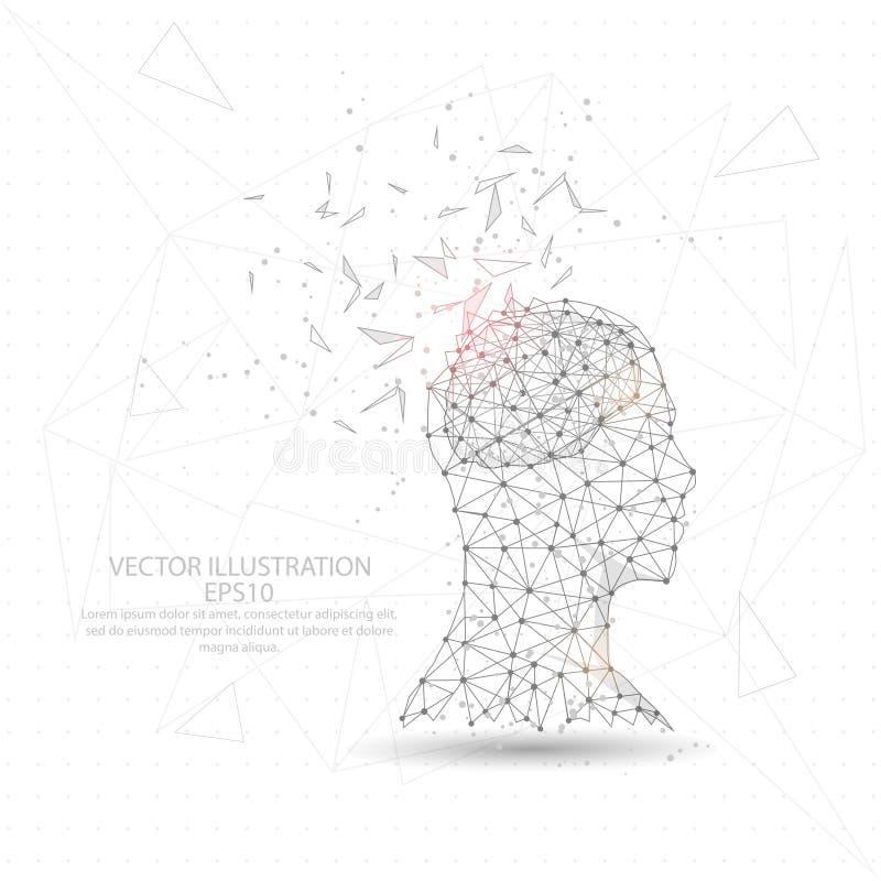 Cadre digitalement dessiné de fil de tête d'homme de penseur et de triangle de cerveau bas poly illustration de vecteur