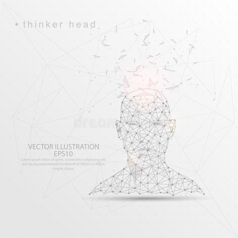 Cadre digitalement dessiné principal de fil de forme de vue de face de penseur bas poly illustration stock