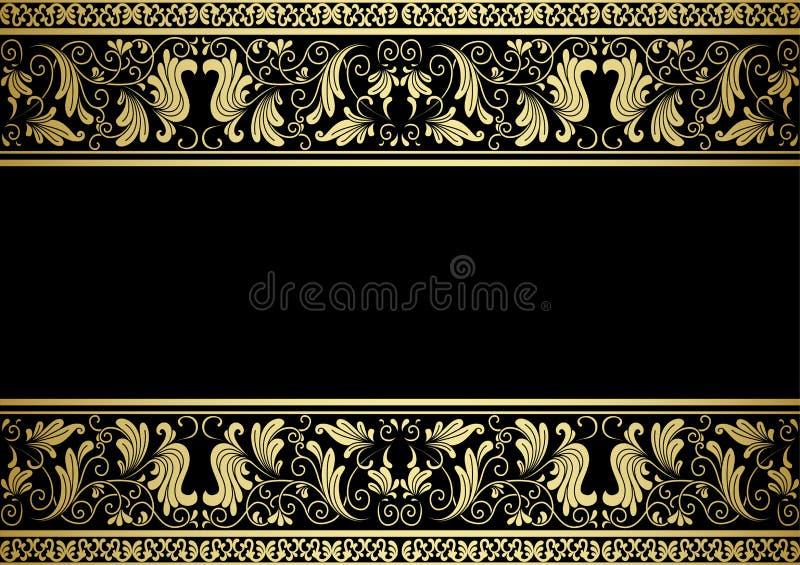 Cadre doré avec les éléments décoratifs illustration de vecteur