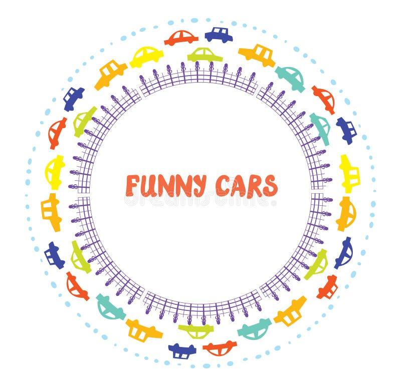 Cadre drôle avec des voitures illustration libre de droits