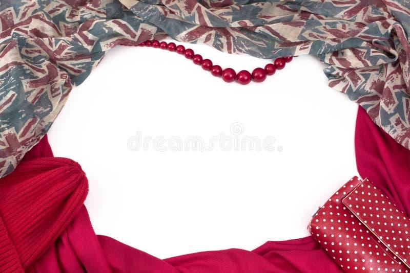 Cadre drapant décoratif du textile Le drapeau britannique de modèle rouge d'écharpe d'accessoires de femmes perle le sac de cadea images stock