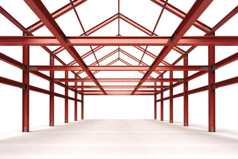 Cadre en acier rouge établissant la vue de perspective d'intérieur illustration libre de droits