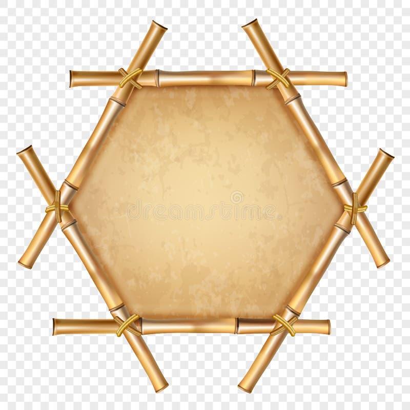 Cadre en bambou brun hexagonal avec la corde et le vieil espace de copie de toile illustration libre de droits