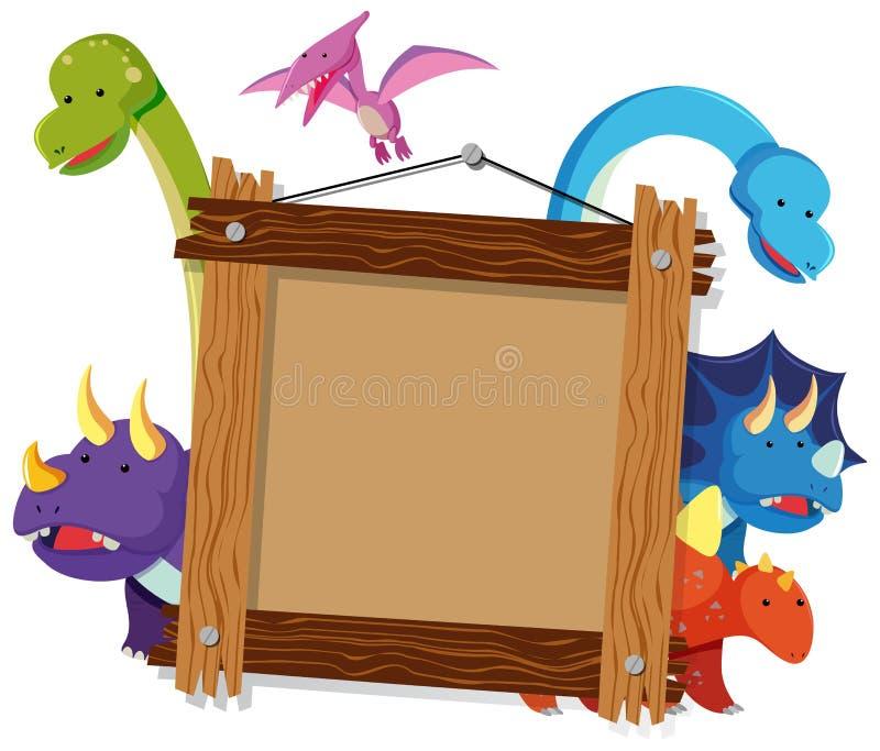 Cadre en bois avec beaucoup de dinosaures à l'arrière-plan illustration stock