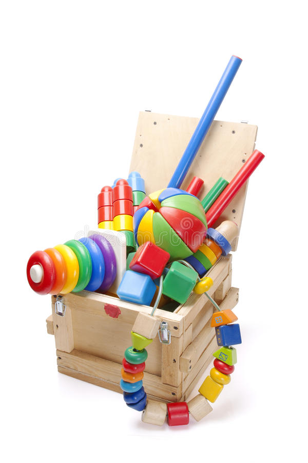 Cadre en bois avec beaucoup de jouets photographie stock libre de droits