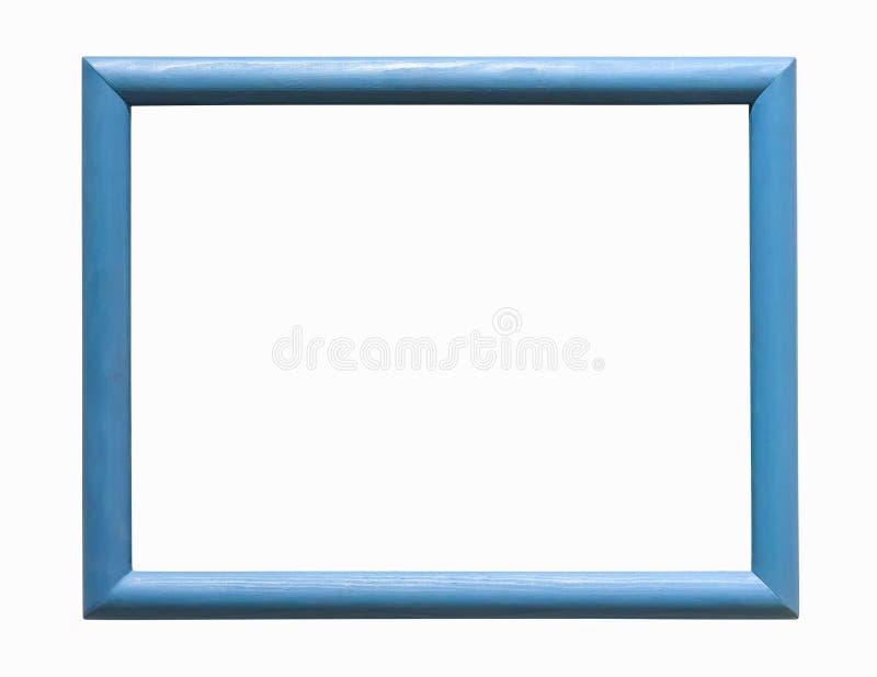 Cadre en bois bleu de photo sur le fond blanc image libre de droits