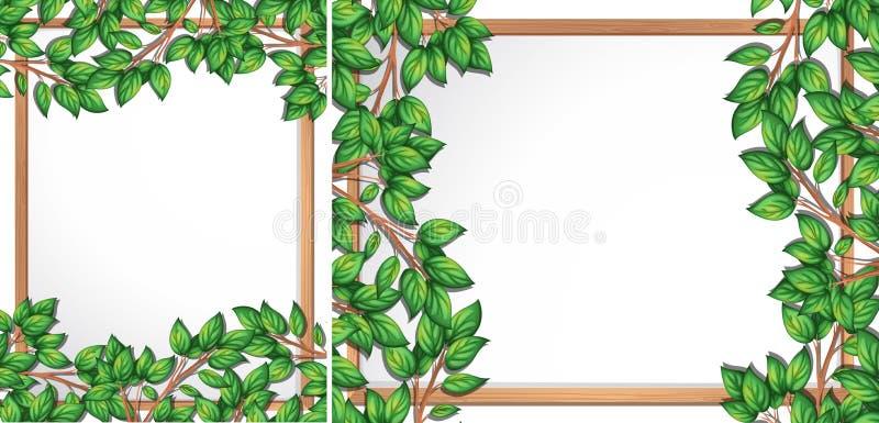 Cadre en bois de branche d'arbre illustration de vecteur