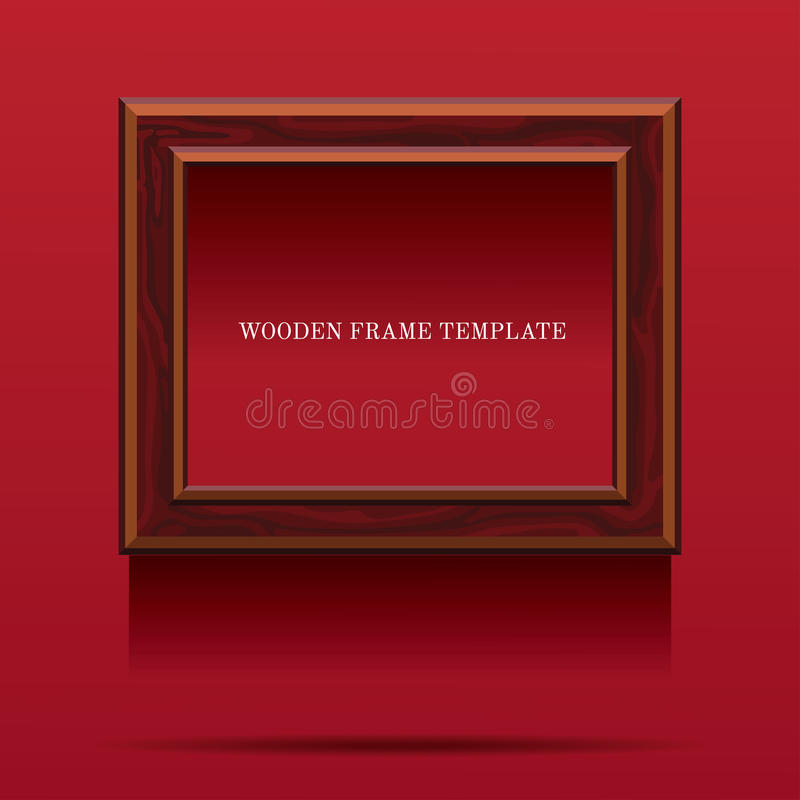 Cadre en bois de Brown sur le fond rouge illustration libre de droits