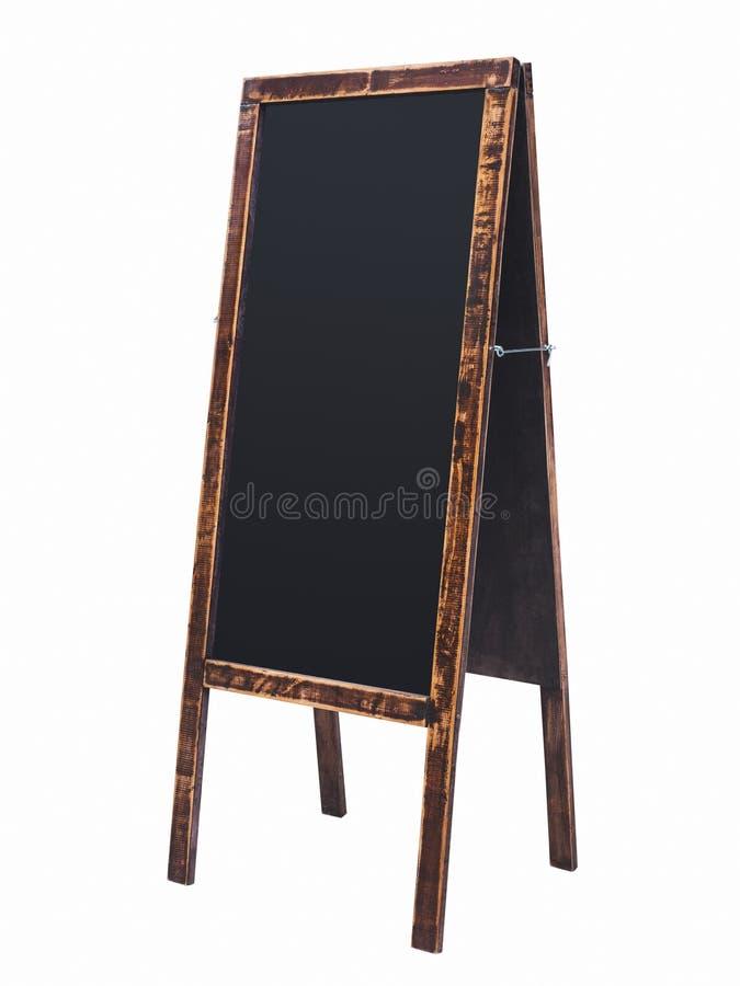 Cadre en bois de panneau de craie de support de menu de tableau noir d'isolement photos libres de droits