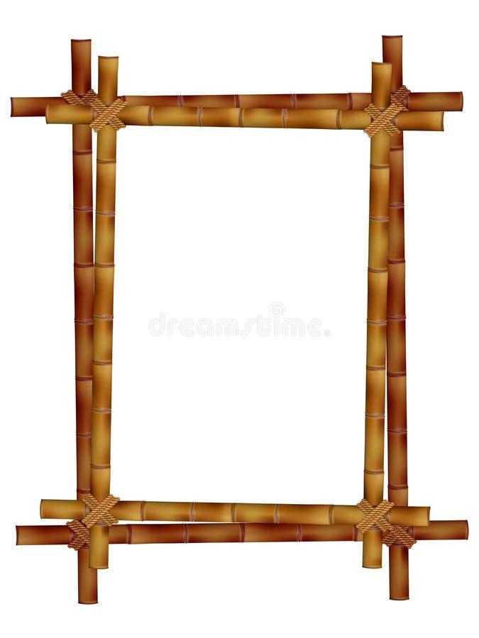 Cadre en bois de vieux bâtons en bambou illustration libre de droits