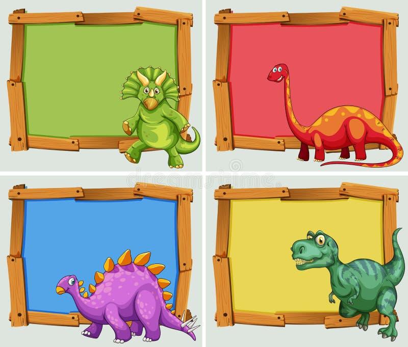 Cadre en bois et beaucoup de dinosaures illustration libre de droits