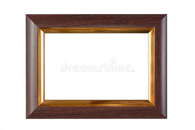 Cadre en bois et d'or photos stock