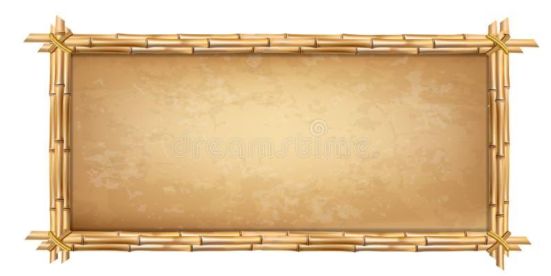 Cadre en bois fait de bâtons en bambou bruns avec le papyrus illustration libre de droits