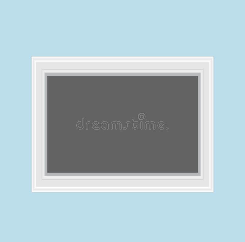 Cadre en bois moderne de mur de place blanche pour des instants spéciaux Memori illustration stock