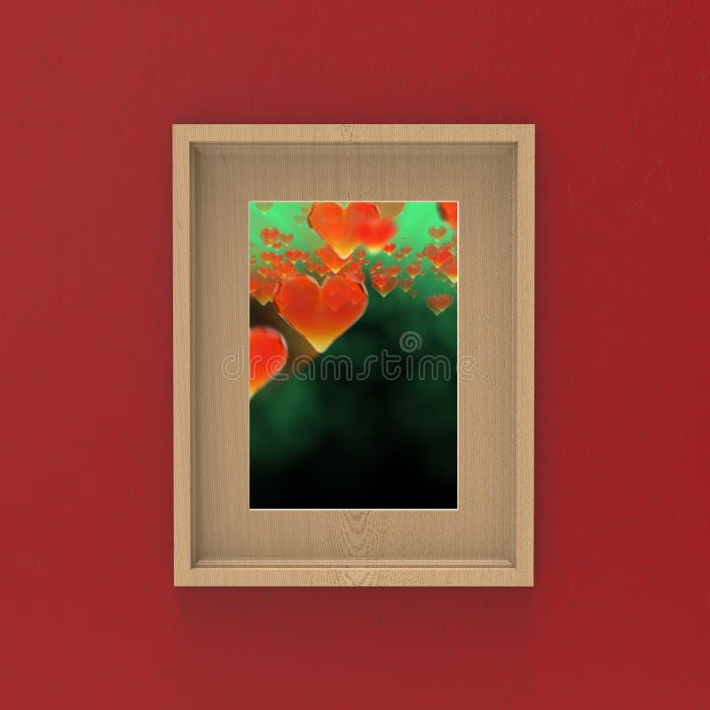 cadre en bois vide sur le mur rouge avec les coeurs en verre de gemme à l'intérieur conception de maquette de l'illustration 3d illustration de vecteur