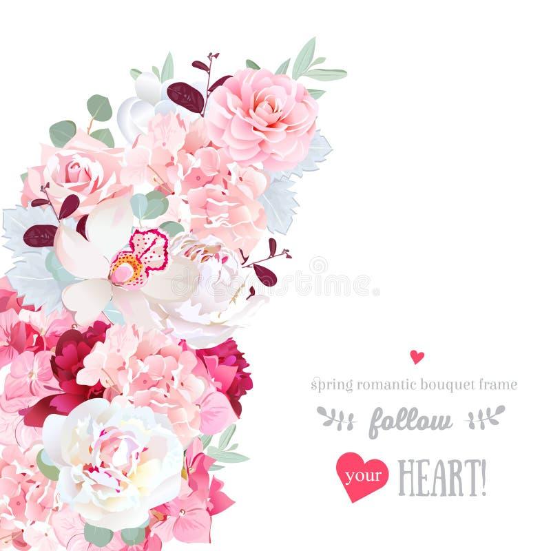 Cadre en croissant romantique de vecteur de forme avec les fleurs roses et rouges illustration libre de droits
