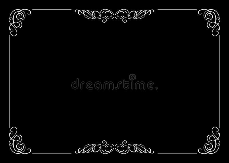 Cadre en filigrane de vecteur, élément calligraphique de conception, vieux concept de film illustration de vecteur