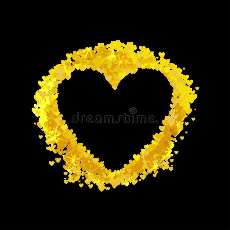 Cadre en forme de coeur d'or de vecteur, élément décoratif brillant, petits coeurs illustration de vecteur