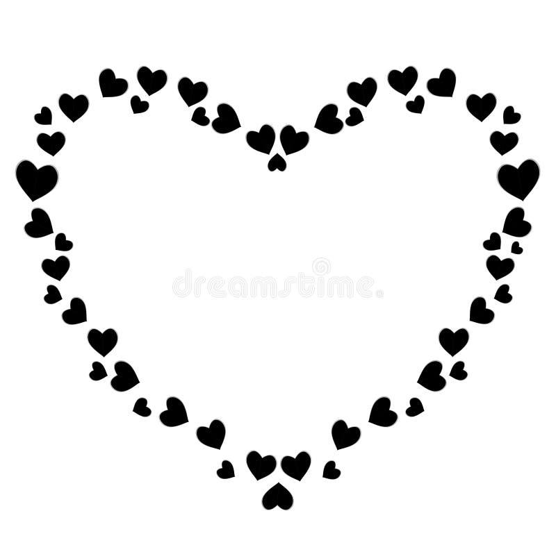 Cadre en forme de coeur noir mignon de vecteur pour des valentines, conception romane d'amour illustration de vecteur