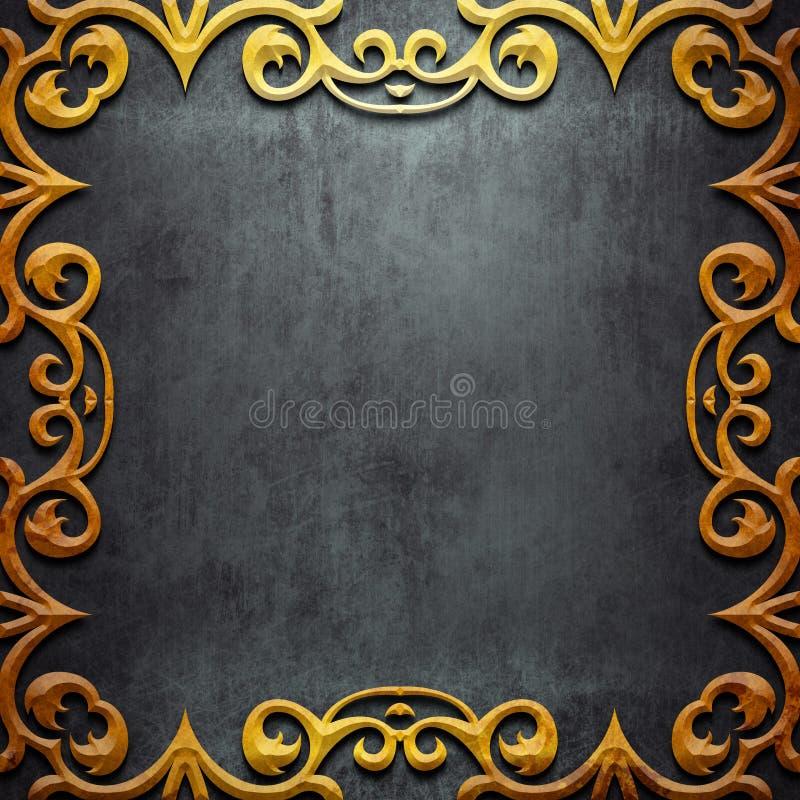 Cadre en métal d'or sur le métal noir illustration stock
