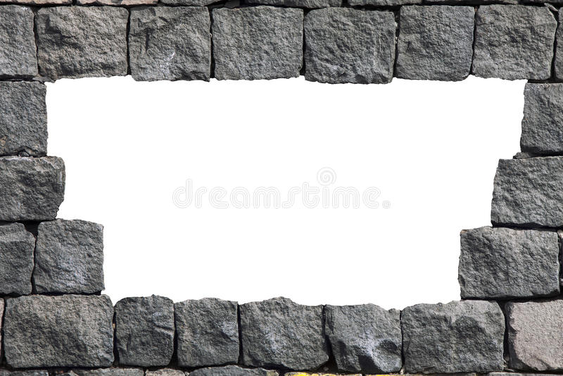 Cadre en pierre de mur de lave avec le trou vide illustration de vecteur