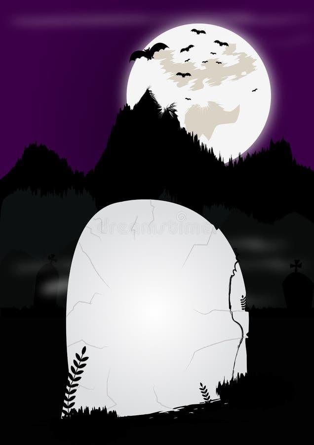 Cadre en pierre grave de Halloween illustration stock
