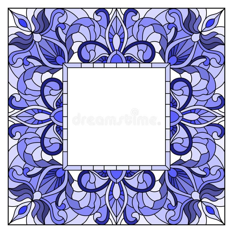 Cadre en verre souillé de fleur d'illustration, fleurs bleues et feuilles dans le cadre sur un fond blanc illustration libre de droits