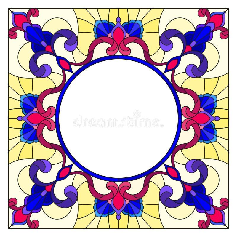 Cadre en verre souillé de fleur d'illustration, fleurs lumineuses et feuilles dans le cadre jaune sur un fond blanc illustration stock