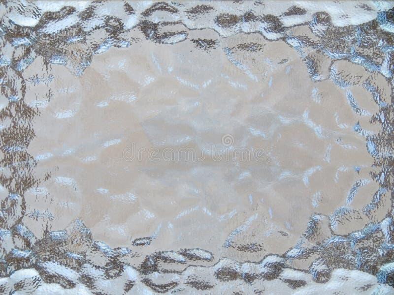 Cadre en verre texturisé dans bleu et gris images stock