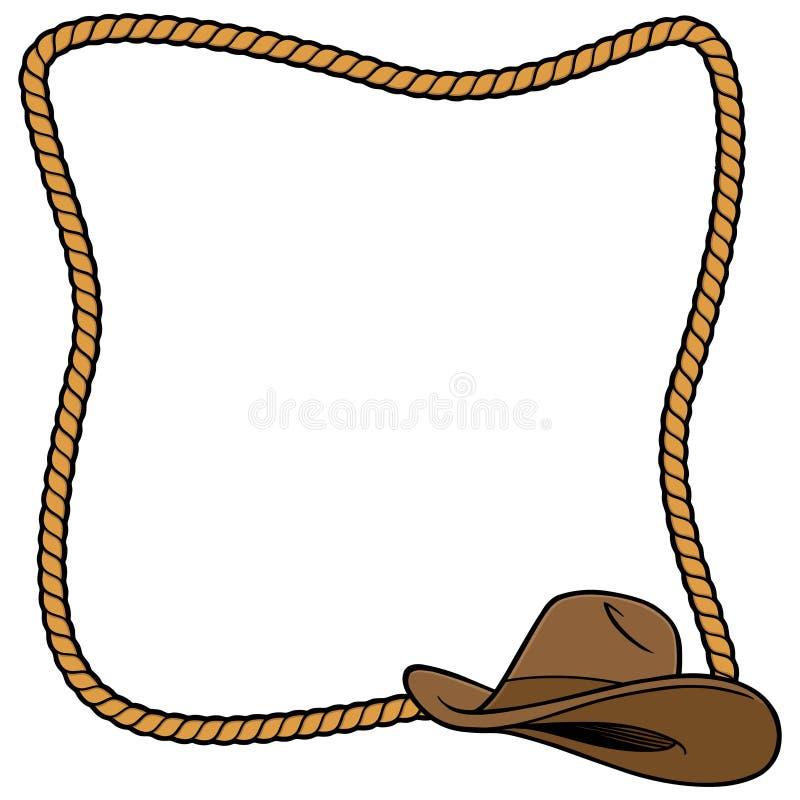 Cadre et cowboy Hat de corde illustration stock