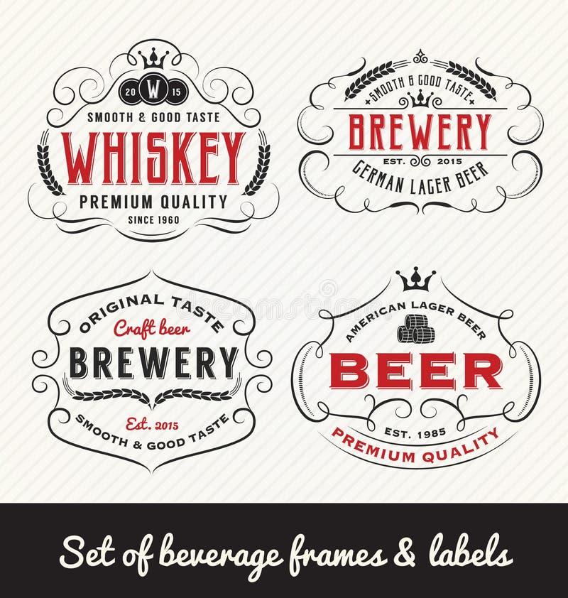 Cadre et labels classiques de boisson de vintage illustration libre de droits