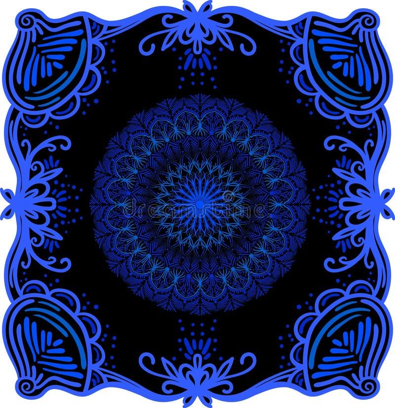 Cadre et mandala abstraits de griffonnage ?l?ment d?coratif de conception Arabesque floral illustration libre de droits