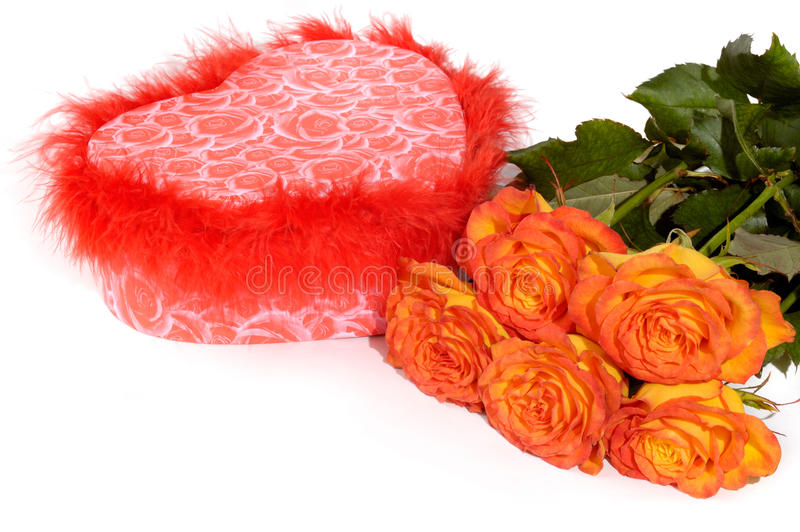 Cadre et roses de cadeau photo libre de droits