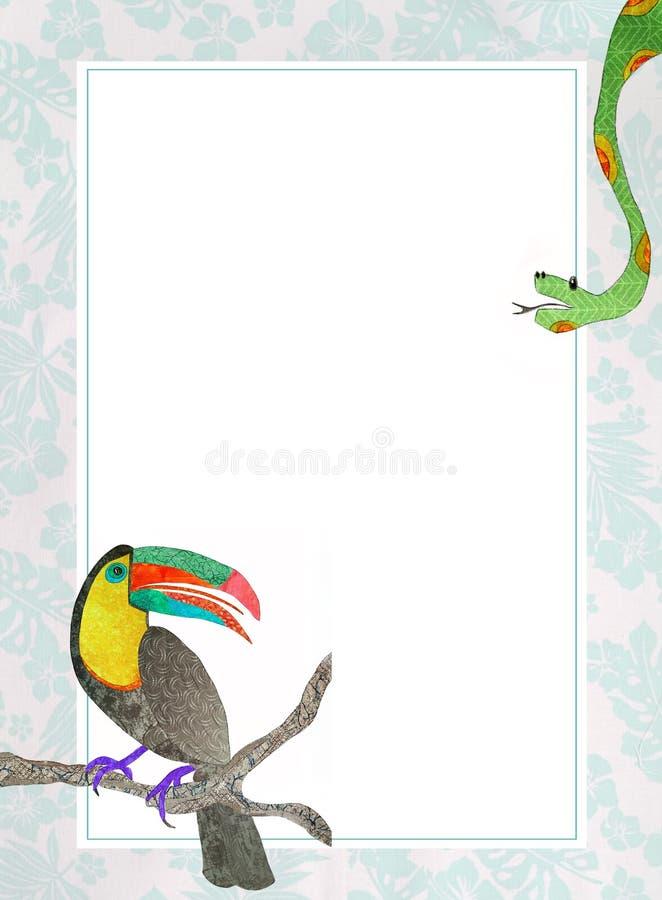 Cadre exotique avec le toucan et le boa Dessin de main, collage de tissu illustration de vecteur