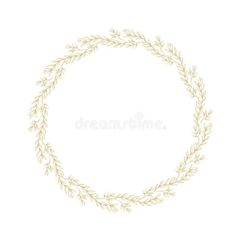 Cadre fait de fleurs d'isolement sur le blanc Guirlande florale esquissée d'or sensible Belles brindilles d'or tirées par la main illustration libre de droits