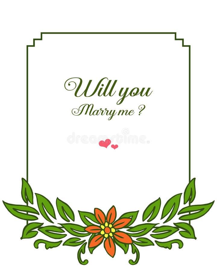 Cadre feuillu vert de fleur de diverse illustration d'illustration de vecteur pour la carte d'invitation vous m'?pouserez illustration de vecteur