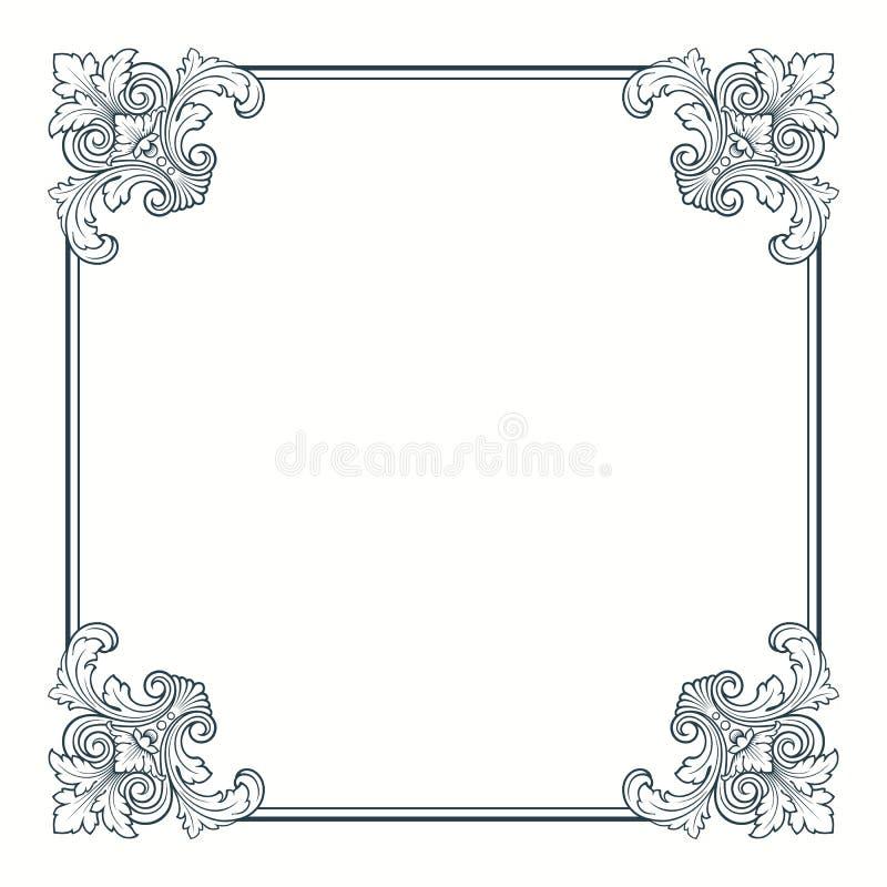 Cadre fleuri calligraphique de trame de cru de vecteur
